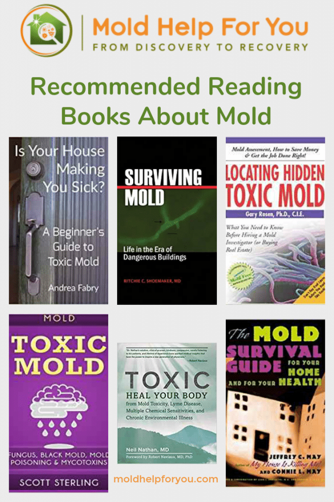 A collage of books about mold - recommended reading from MoldHelpForYou.com