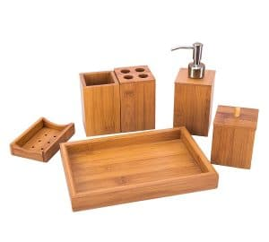 Bamboo Bathroom Accessory Set with Soap Dispenser, Cotton Ball Box, Toothbrush Holder, Toothpaste Holder, Soap Dish, Towel Tray