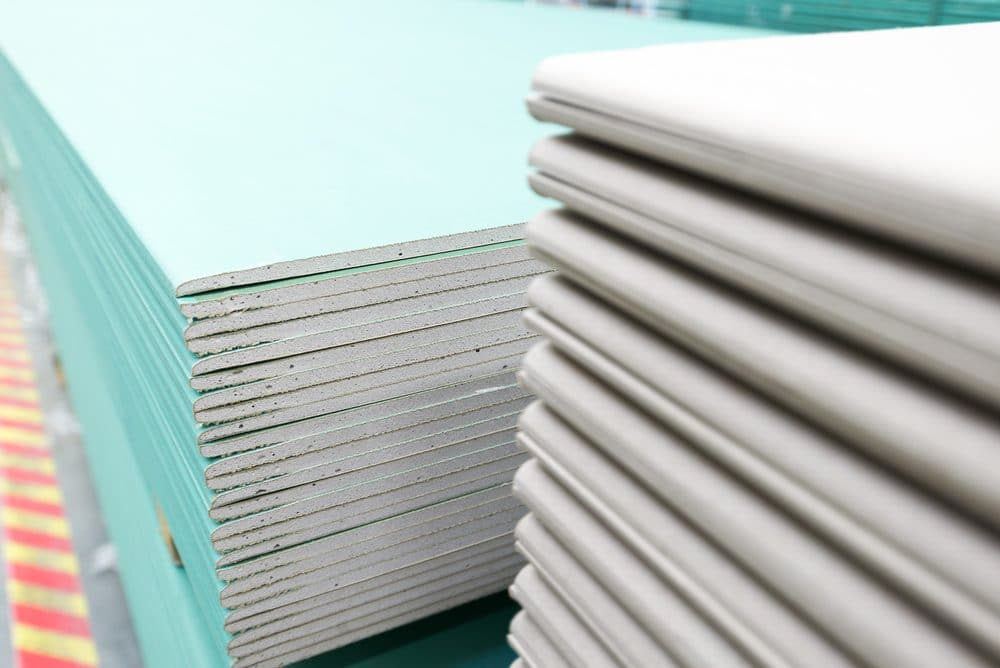 Stack of mold resistant drywall gypsum board