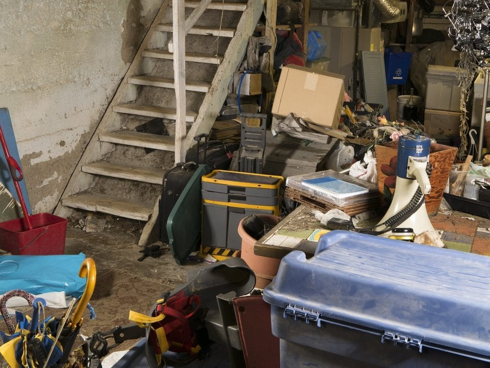 Cluttered Basement - not the way to prevent basement mold