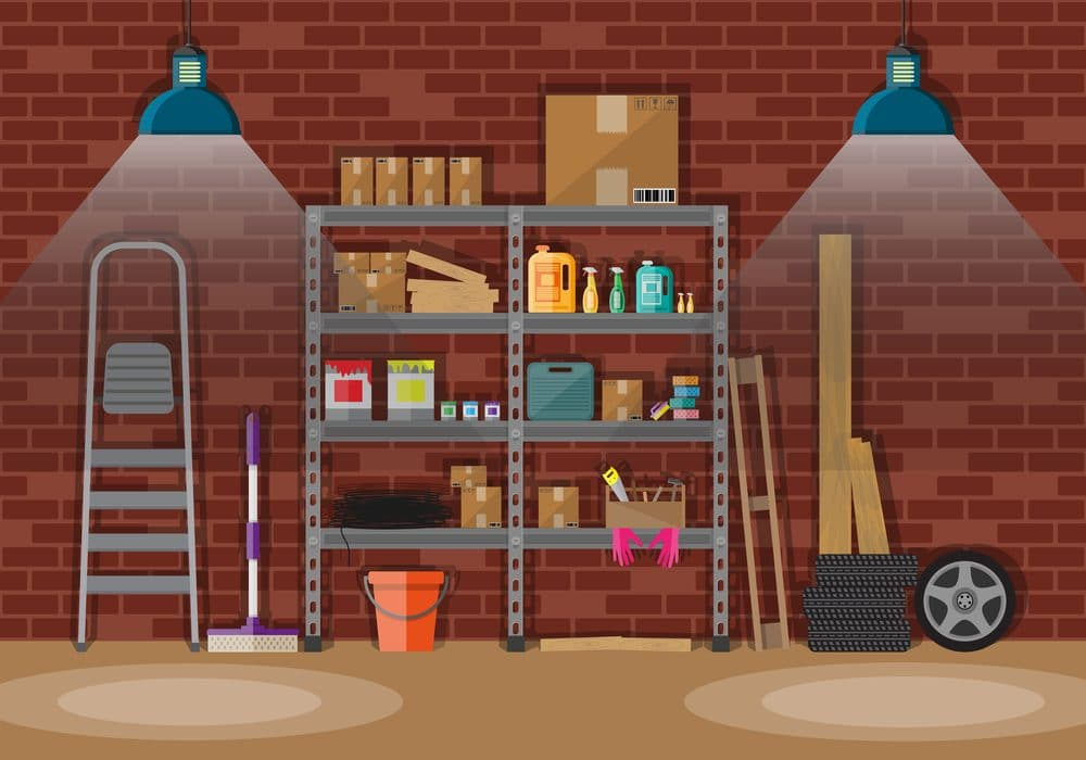Interior of storeroom with metal shelves, storage, boxes, stair, wheels, cleaning accessories. light lamp. red brick wall.