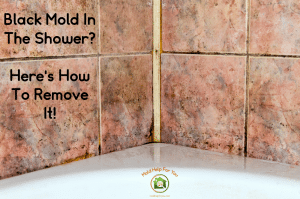 "Moldy shower grout, caulking, and tile with the words ""how to get rid of shower mold"" written on the top portion of the image"