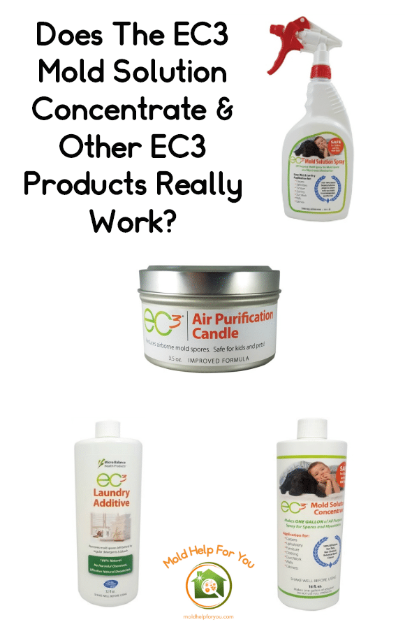 A collage of EC3 products including EC3 mold solution