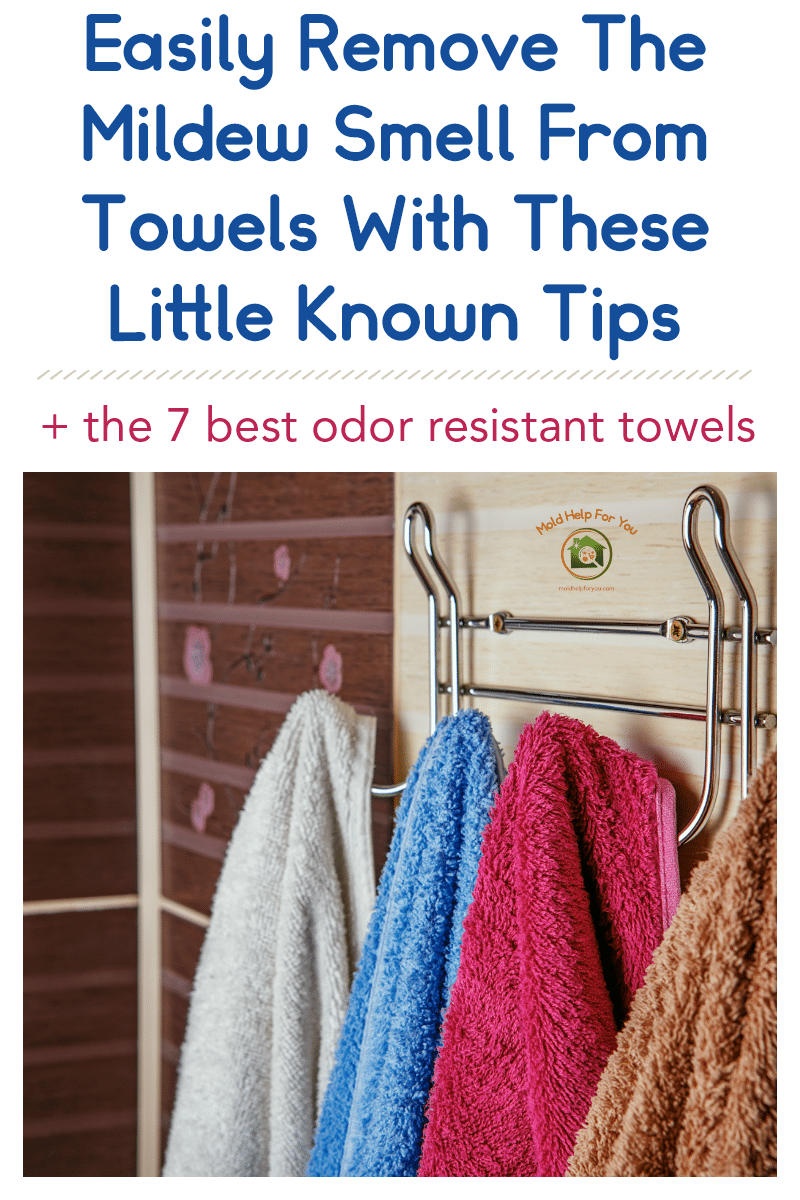 4 odor resistant towels hanging on a rack against the bathroom wall