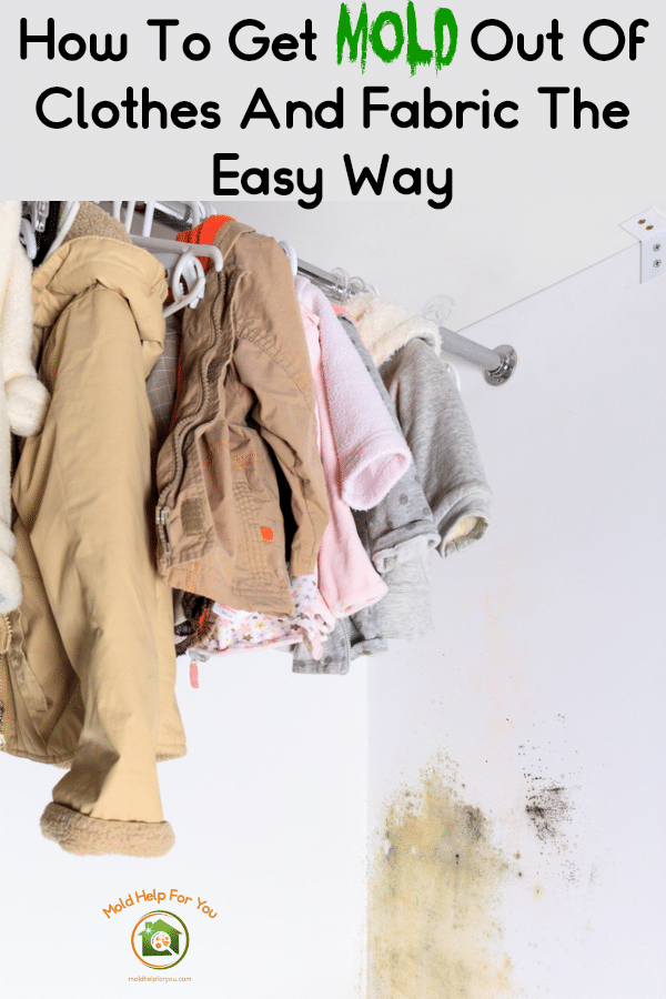 Clothing hanging in a moldy closet