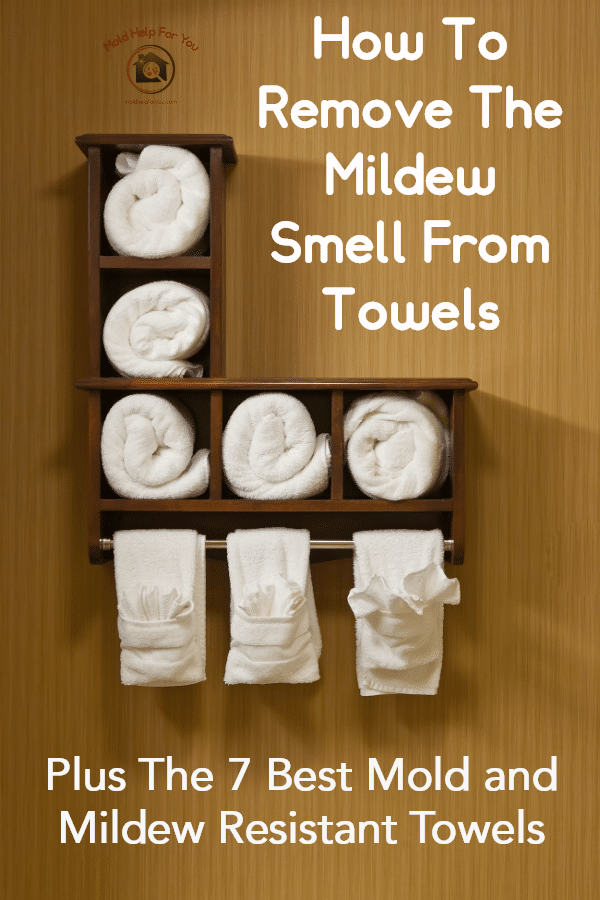 Mold and mildew resistant towels on a cube shelf hanging on the wall