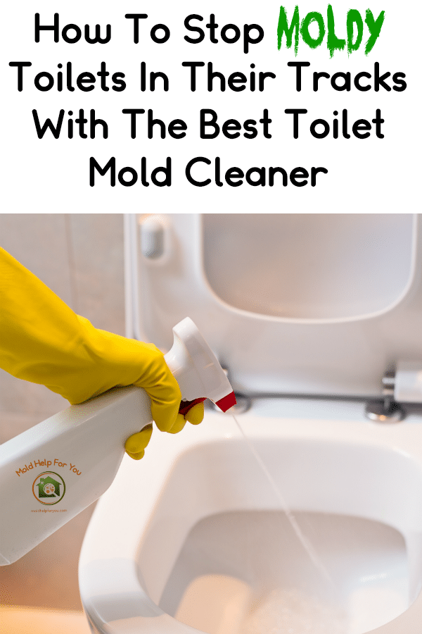 A yellow gloved hand spraying mold spray in the toilet bowl. The person is trying to stop m old in it's tracks with the best toilet mold cleaner