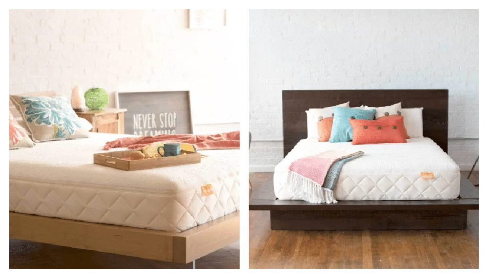 Two views of the Happsy mold resistant mattress. One is on a dark wood frame and the other is on a light wood frame