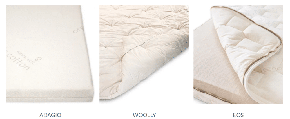 Thre three different Naturepedic organic mattress toppers on a white background