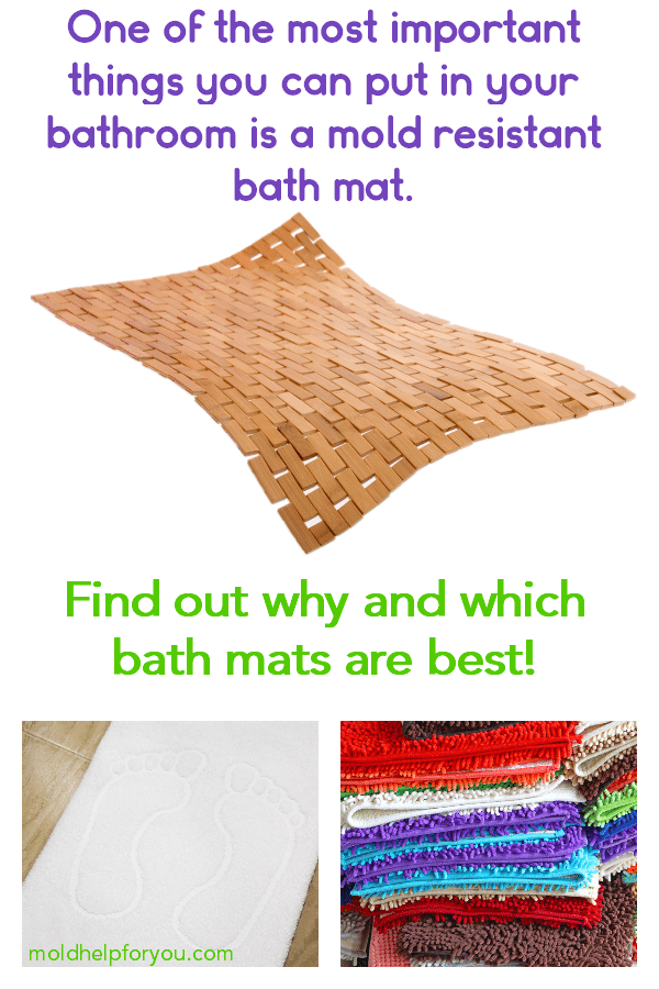 A mold resistant white bath mat, a stack of colorful mold resistant bath mats, and a mold and mildew resistant bamboo bath mat