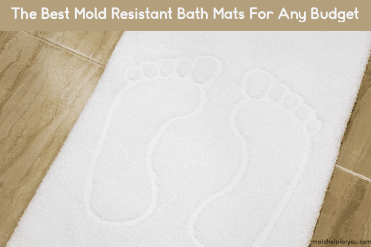 A white mold resistant bath mat on a wood floor