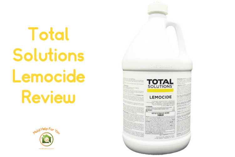 A bottle of total solutions lemocide on a white background