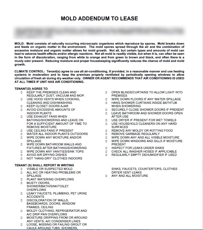 Sample mold addendum to lease
