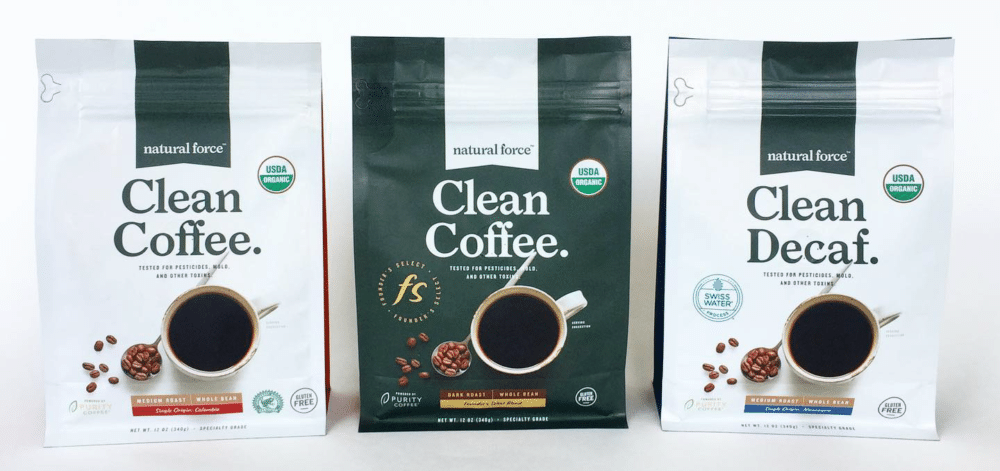 Natural Force Mold and Mycotoxin Free Coffee. Dark roast, medium roast, and decaf bags on a white background.