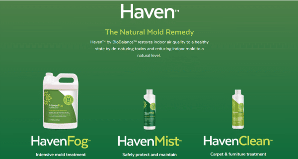 BioBalance HavenFog, HavenMist, and HavenClean bottles
