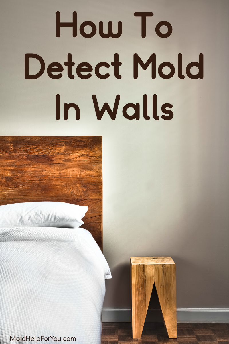A bedroom wall painted beige with a wooden headboard of a bed showing. A sign reads how to get rid of mold in walls